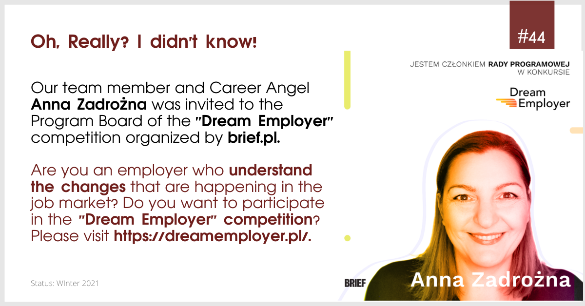 "Career Angel was invited to the Program Board of the ""Dream Employer"" contest organized by Brief.pl"
