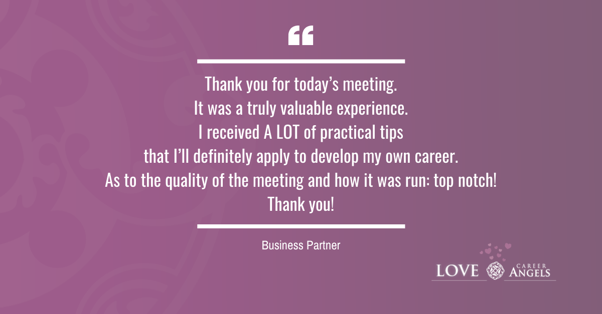 Love Letters to Career Angels from Business Partner about career consultation