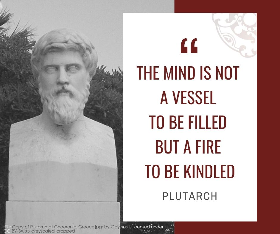 """Inspirational quotes by Career Angels: """"The mind is not a vessel to be filled but a fire to be kindled"""" Plutarch"""