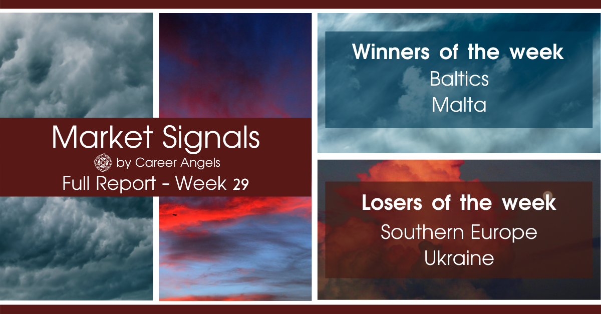 Full Week 29 Market Signals report showing winners: Baltics, Malta and Losers: Southern Europe, Ukraine
